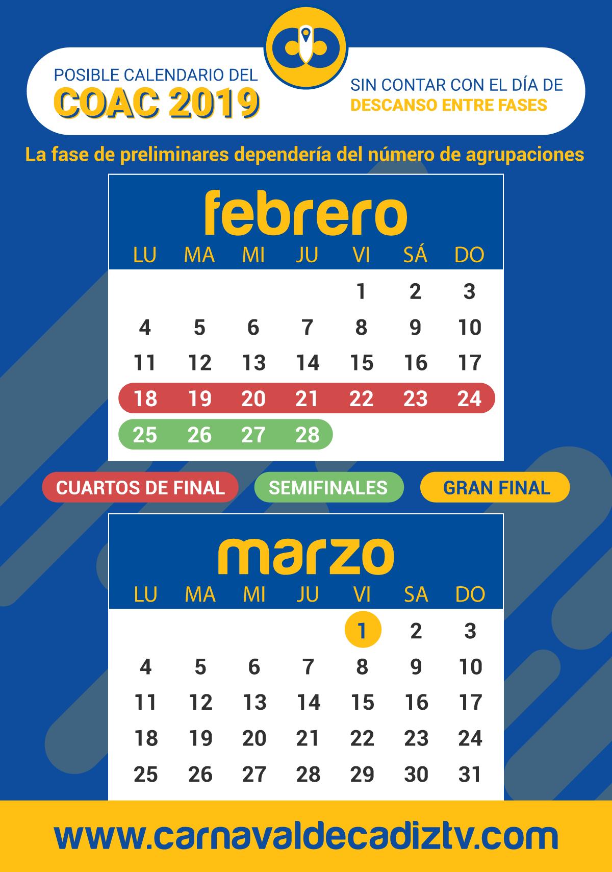 calendario coac 2019