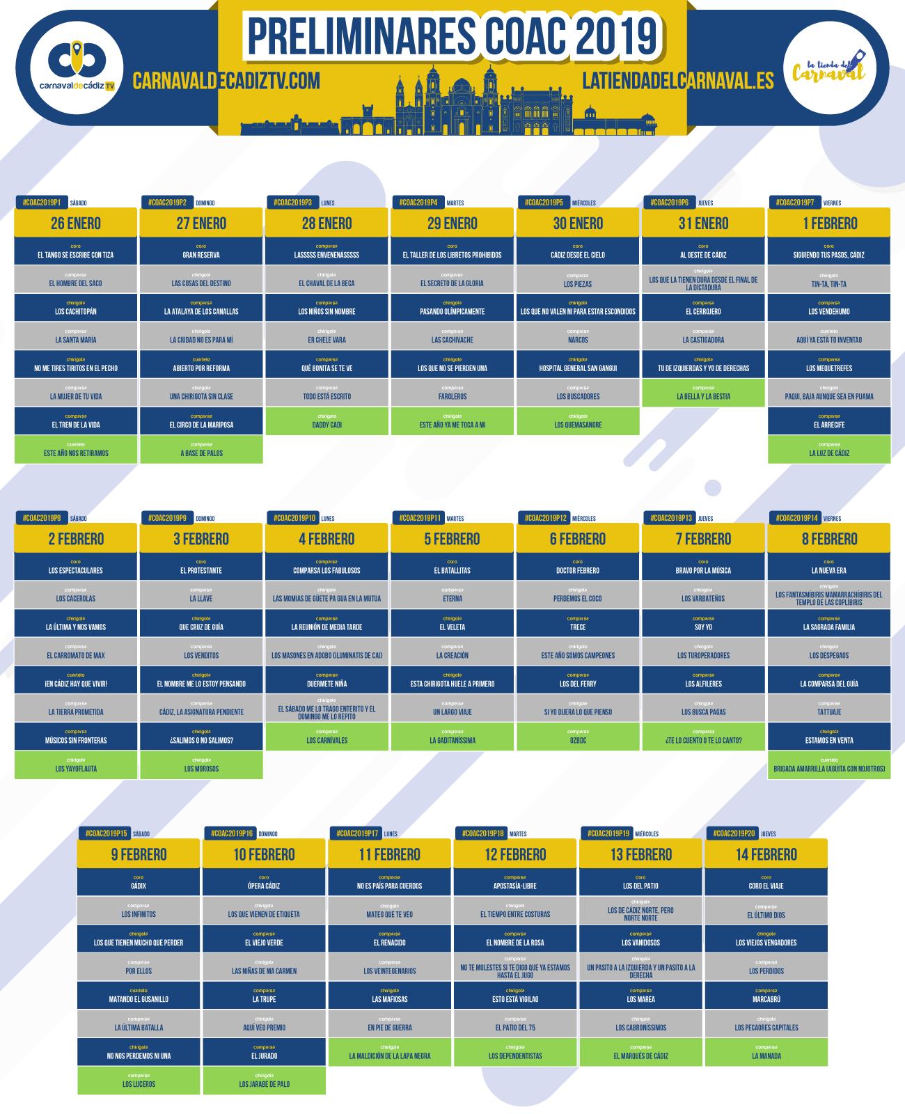 preliminares calendario coac 2019