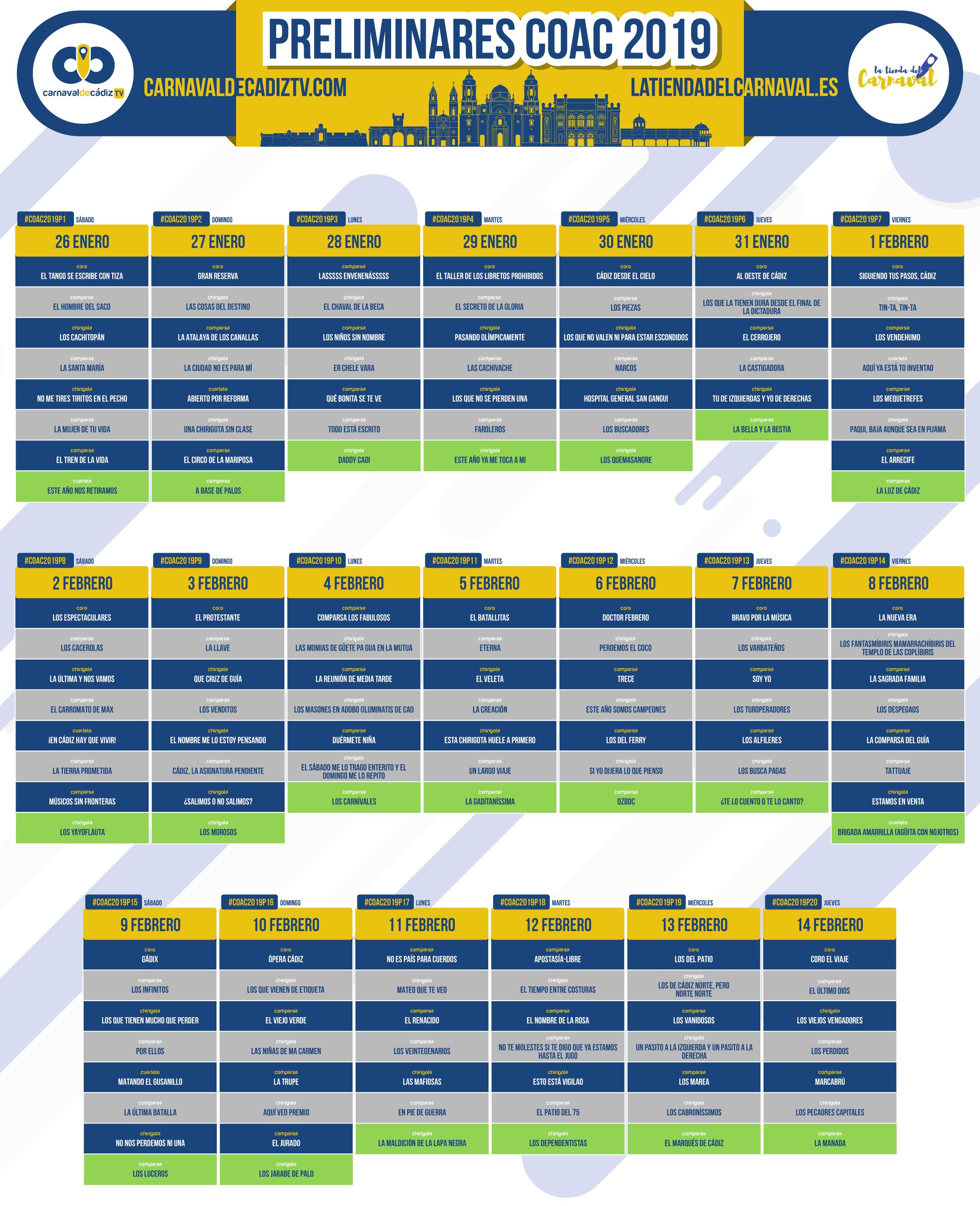 Calendario Coac 2019.Preliminares Coac 2019 Preliminares Carnaval De Cadiz 2019